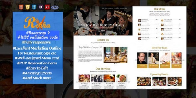Rekha | One Page Restaurant Template