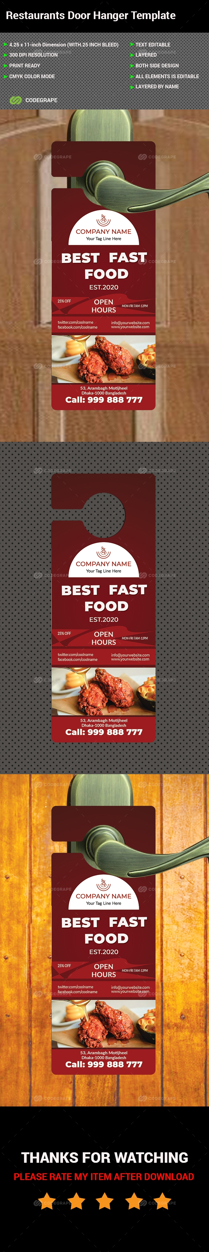 Restaurants Door Hangers Template