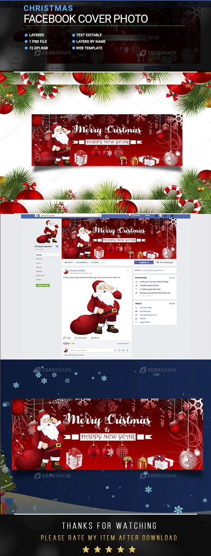Christmas & New Year Facebook Cover Photo