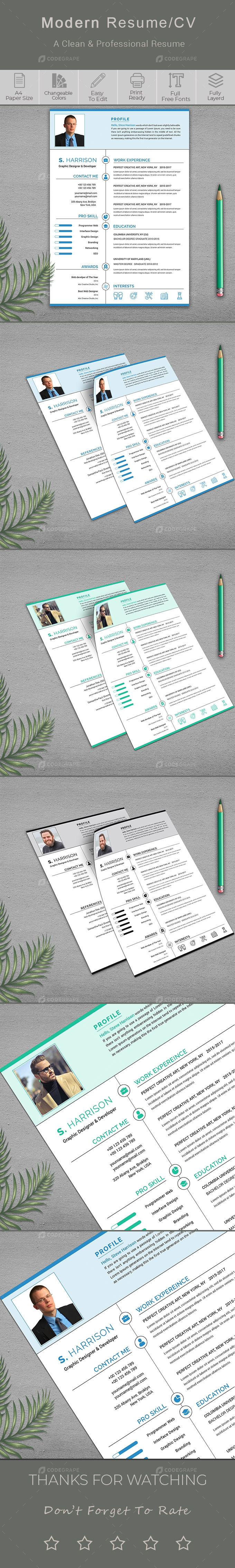 Clean Resume/CV Template With Cover Letter
