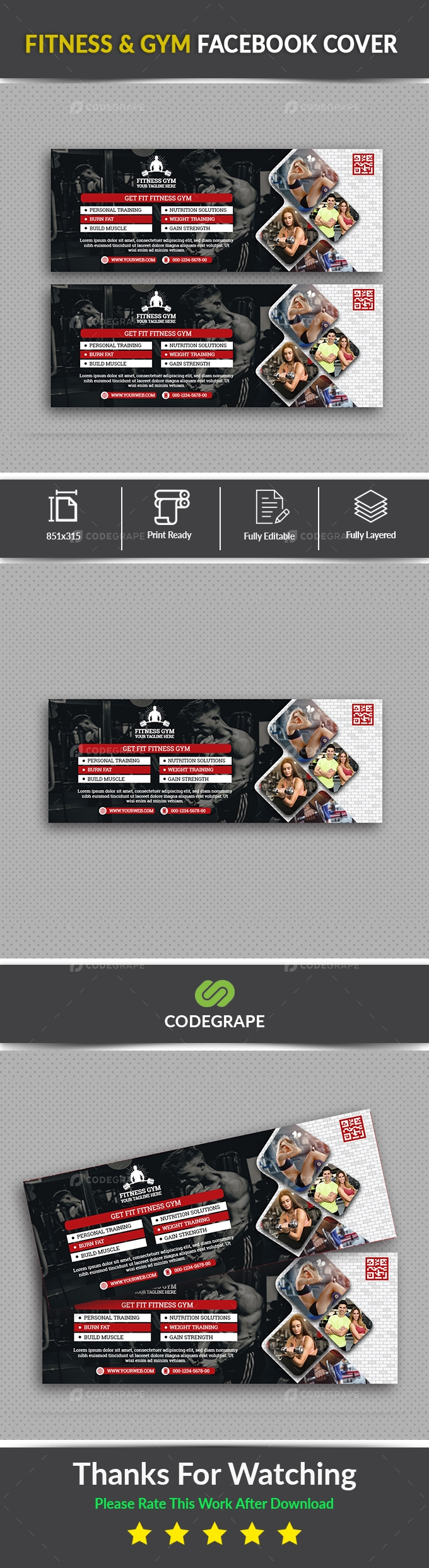 Fitness & GYM Facebook Cover