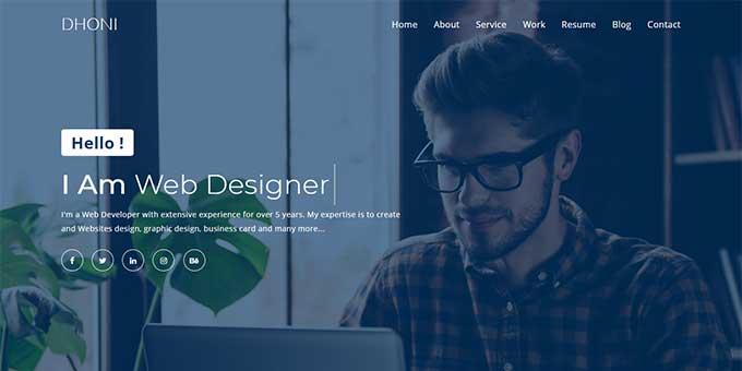 Dhoni - Creative Personal Portfolio Template