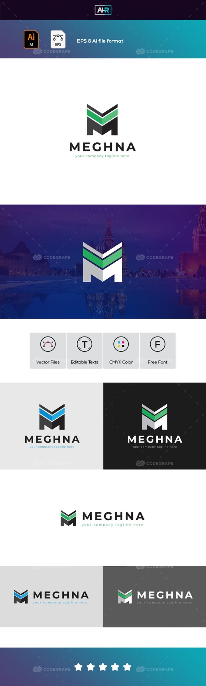 Meghna M Letter Logo