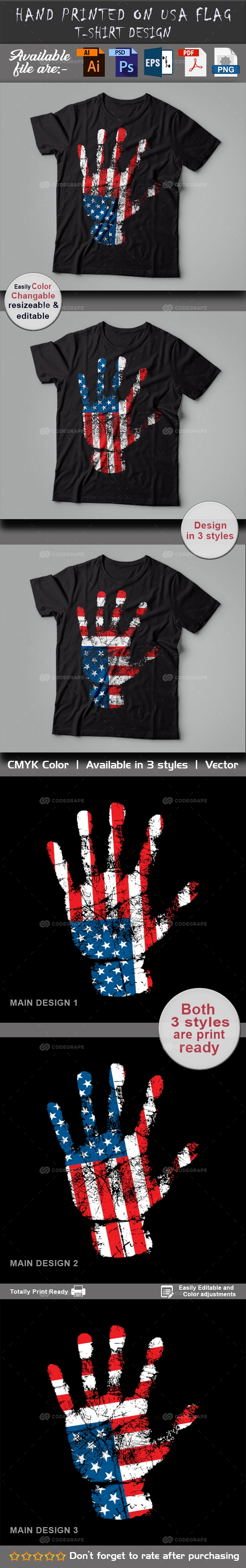 Hand Printed on USA Flag T-Shirt design