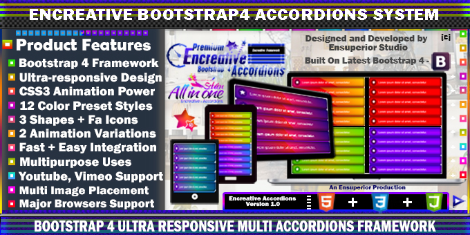 Encreative - Bootstrap 4 Multipurpose Accordions Framework (CSS3)