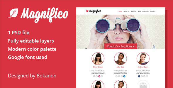 Magnifico - One Page PSD Template