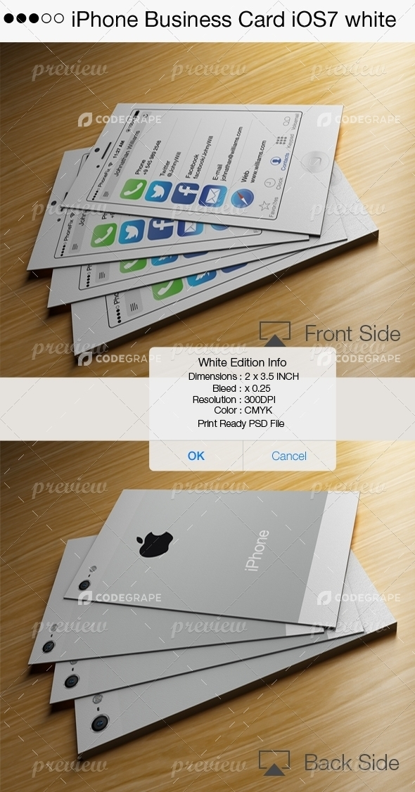 Iphone business card ios7 white print codegrape iphone business card ios7 white reheart Gallery