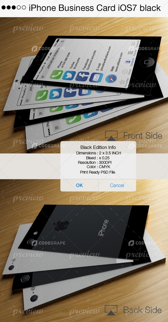 iPhone Business Card iOS7 Black - Print | CodeGrape
