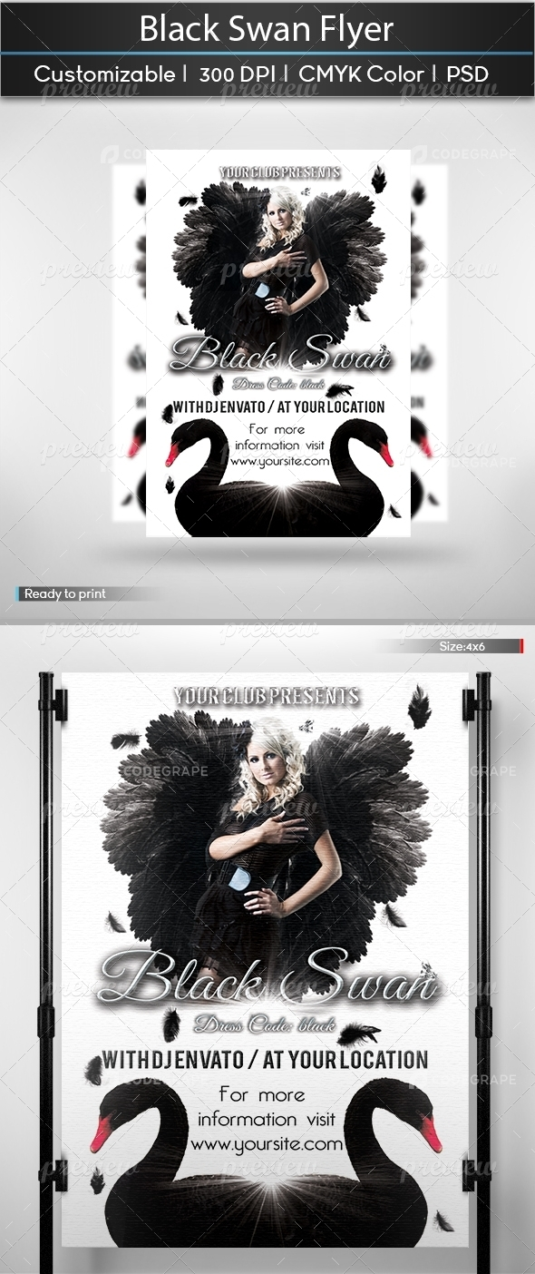 Black Swan Masquerade Flyer Template