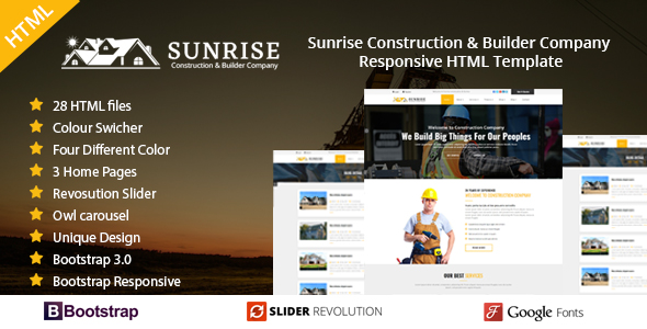 Sunrise Construction & Builder Company Responsive HTML Template