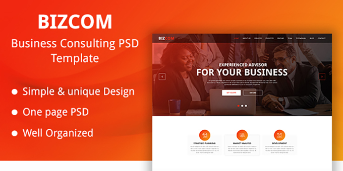 Bizcom - Business Consulting PSD Template