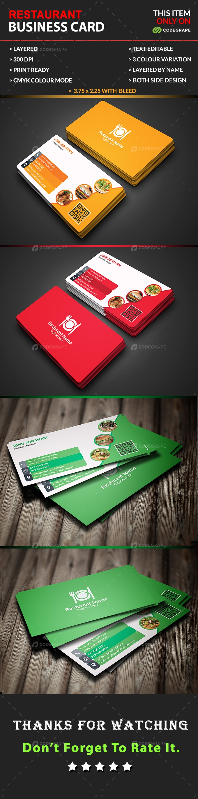 Restaurant Business Card.