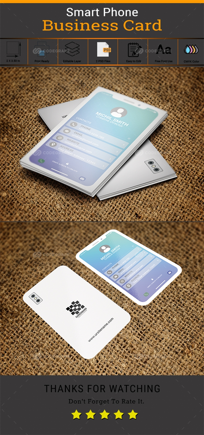 White Smartphone Business Card.