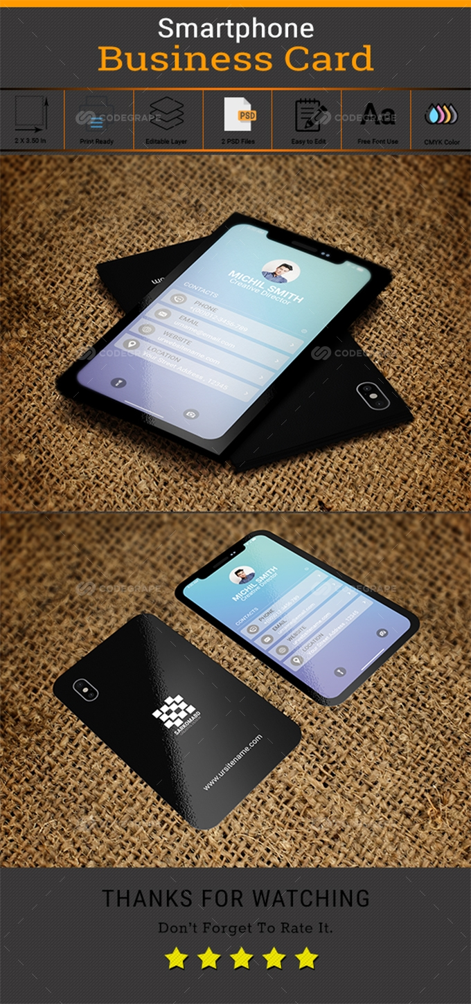 Black Smartphone Business Card