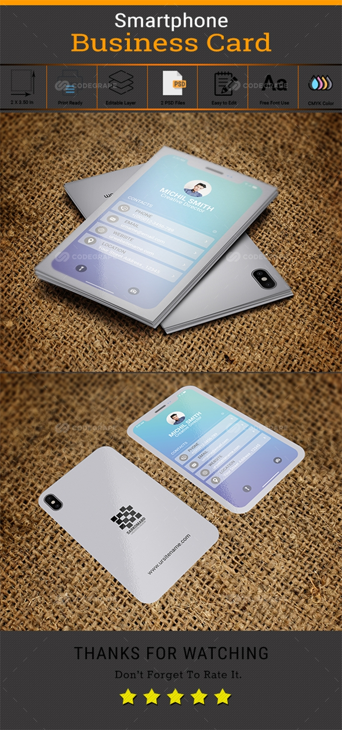 White Smartphone Business Card