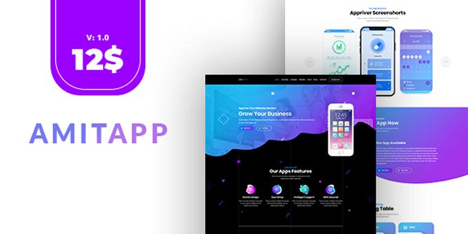 Amitapp - App Landing Page PSD Template