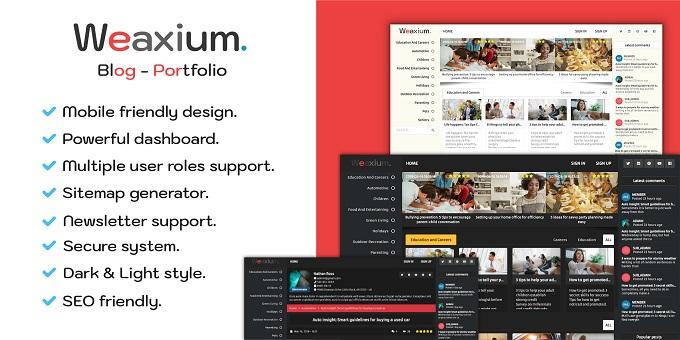Weaxium - Responsive Portfolio | Blog PHP Script