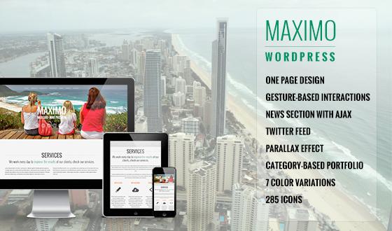 Maximo - WordPress Responsive One Page Parallax Theme - Themes ...