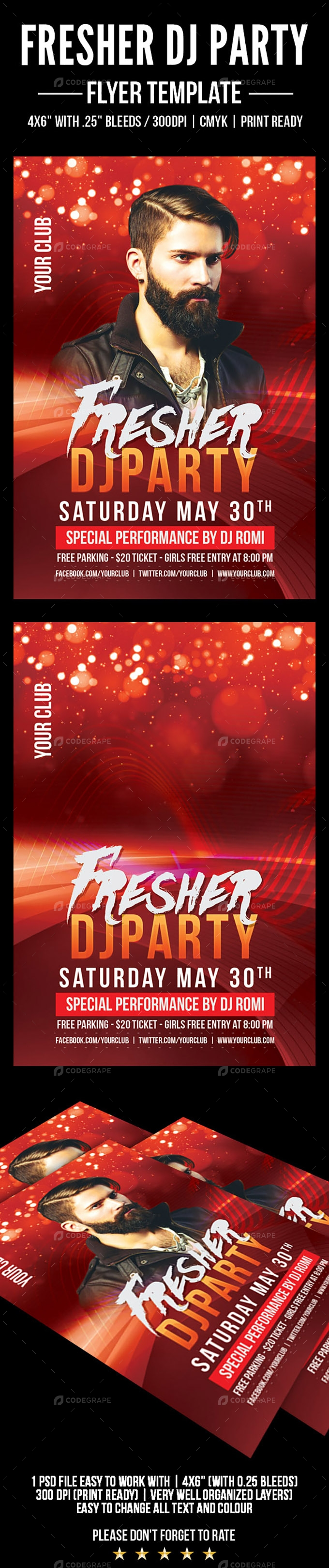 Fresher DJ Party Flyer