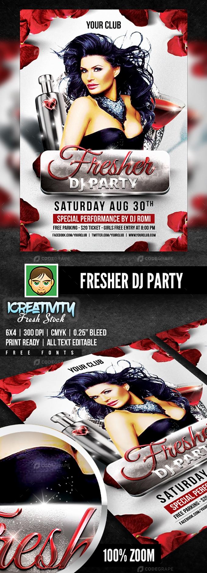 Fresher Dj Party Flyer
