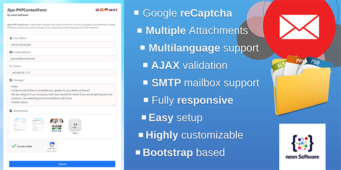 Ajax PHPContactForm - Responsive Ajax Contact Form with Attachments