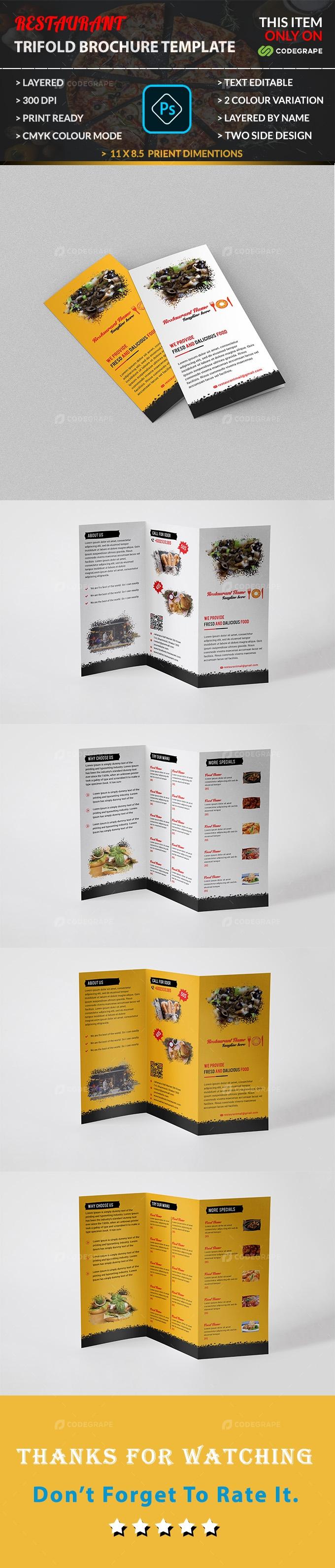 Restaurant Tri-fold Brochure Template