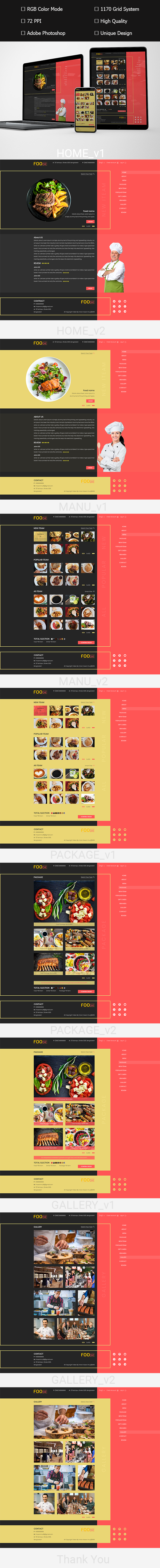 Foodie Restaurant WEB UI PSD Template