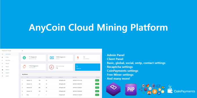 AnyCoin - Cloud Mining Script