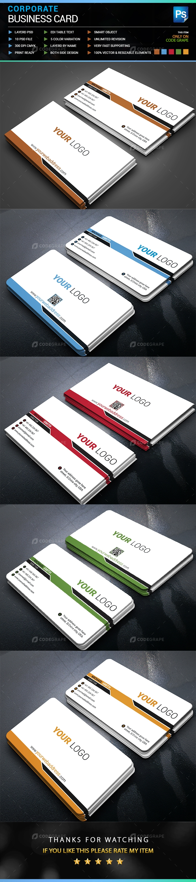 Creative Clean Business Card 5 variations