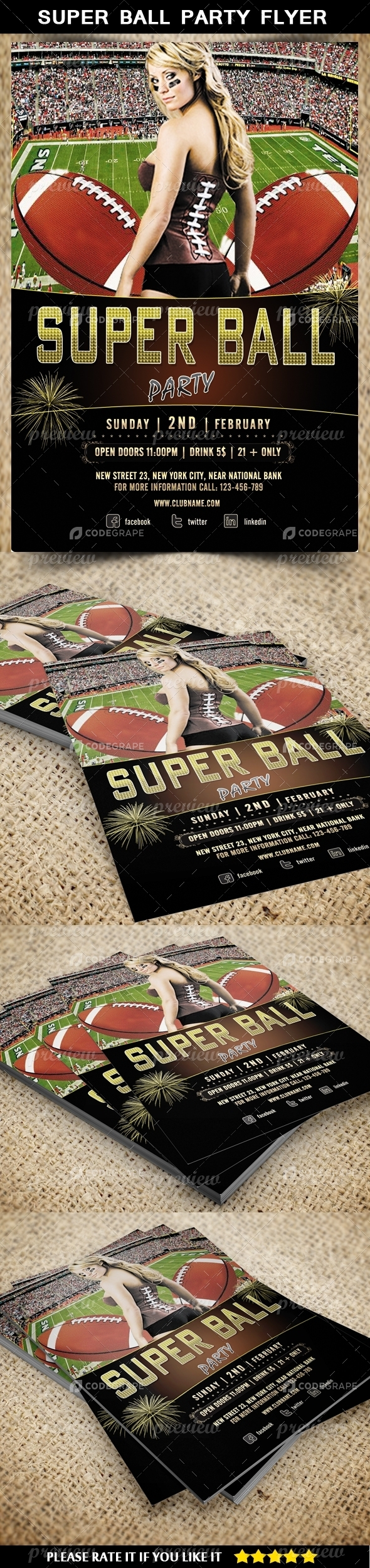 Super Ball Party Flyer Template