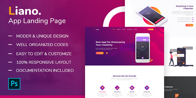 Liano - App Landing Page PSD Template