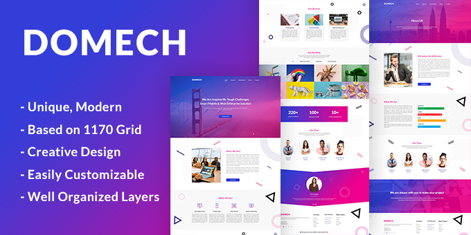 DOMECH Agency One Page PSD Template