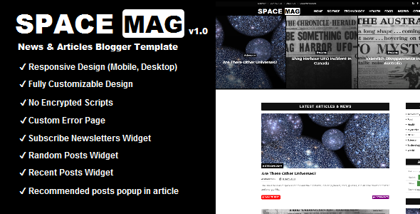 SpaceMag - Blogger Magazine Theme