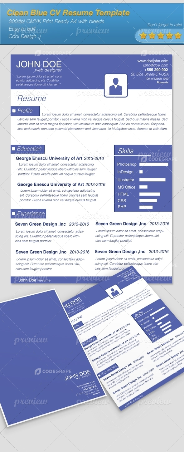 Clean Blue CV Resume Template+Cover