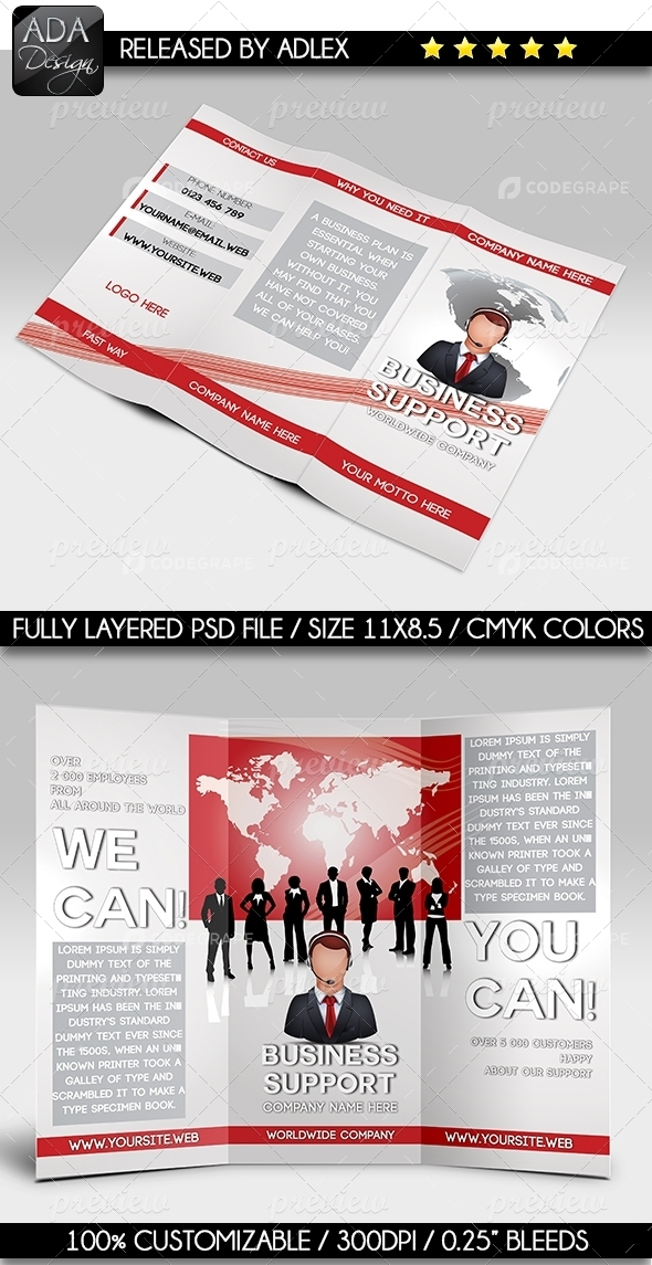 Trifold Multipurpose Brochure Business Support