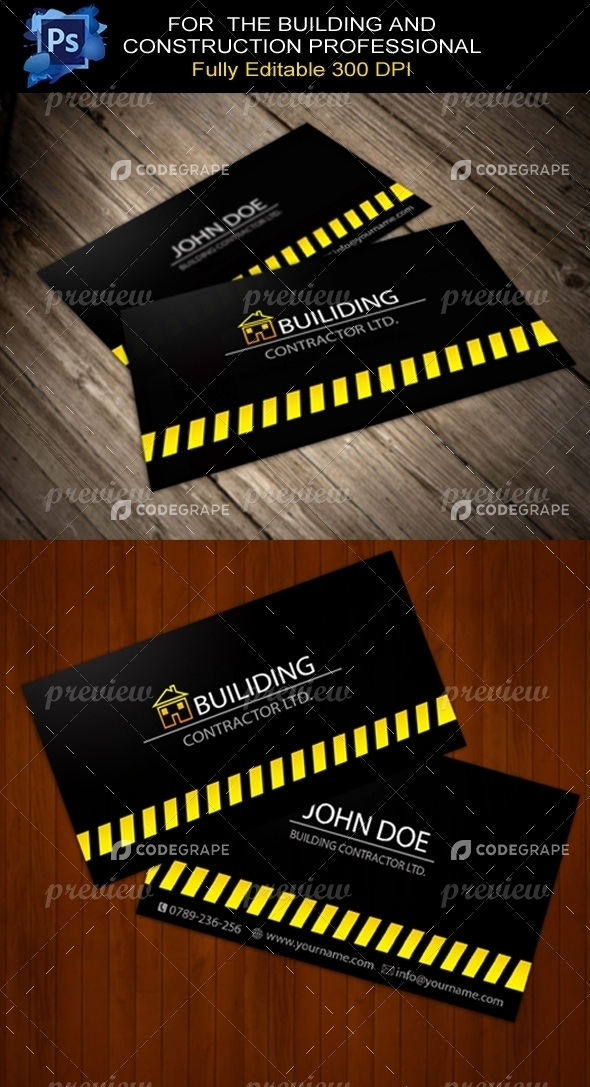 Building Contractor Business Card - Print | CodeGrape