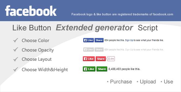 Extended Facebook Like Button Generator Script