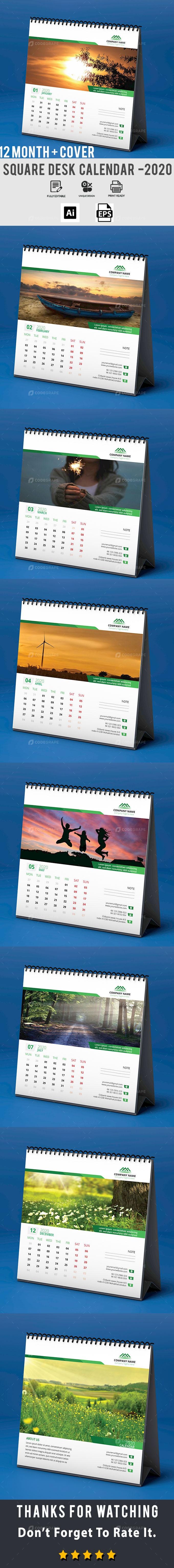 Square Desk Calendar 2020