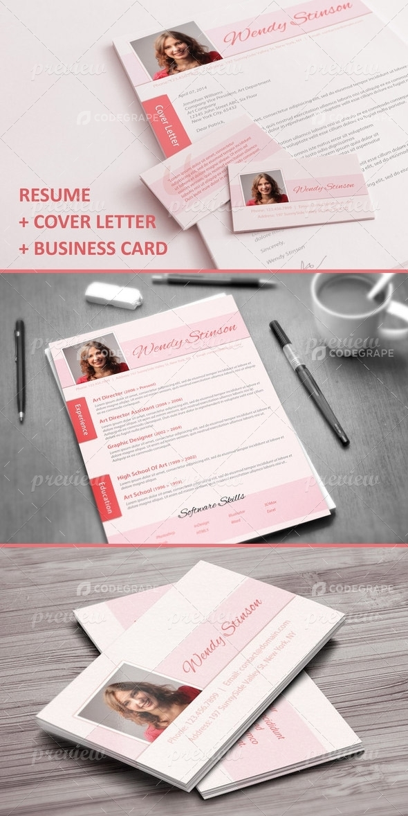 cv  cover letter  business card set