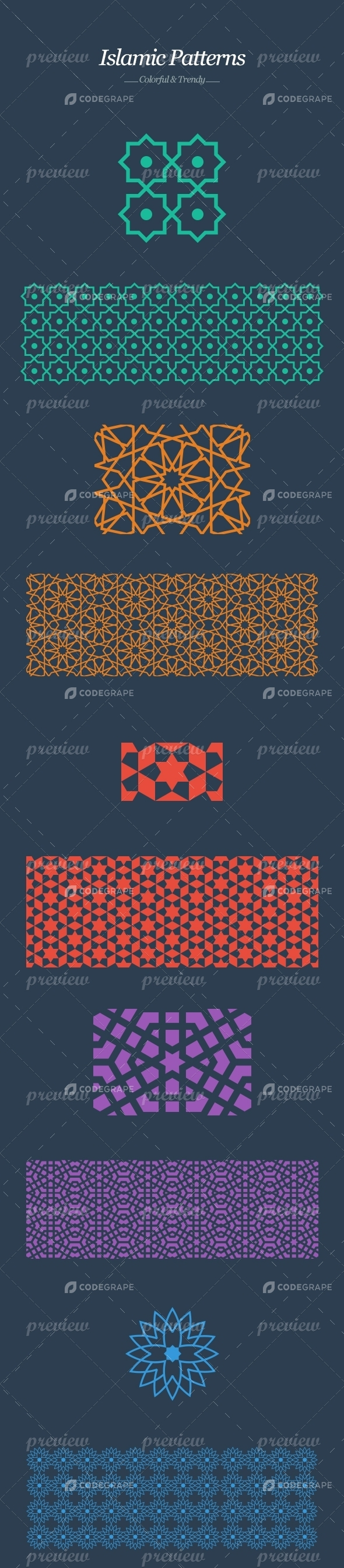 Islamic Tiles - five trendy colorful patterns