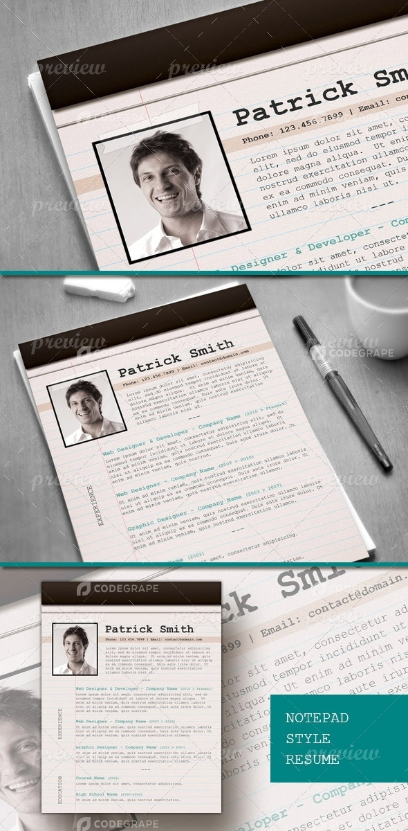 Resume with Notepad Look