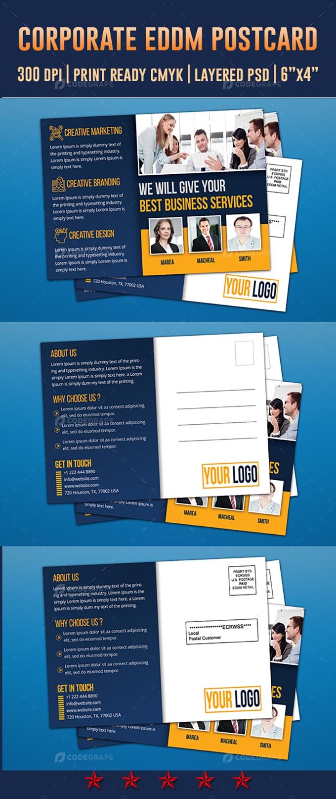 Corporate Postcard & Direct Mail EDDM Postcard Design