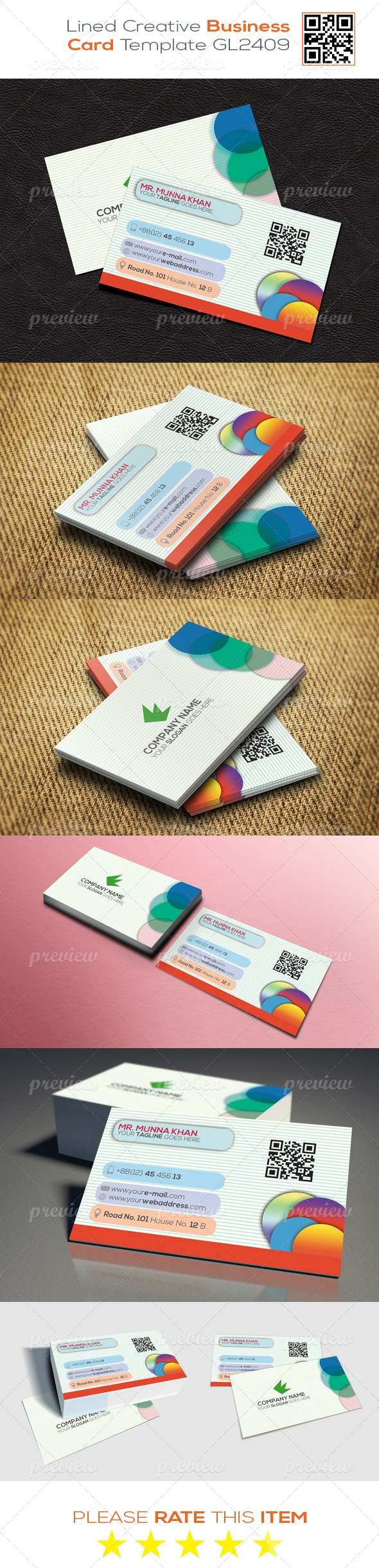 Lined Creative Business Card Template GL2409
