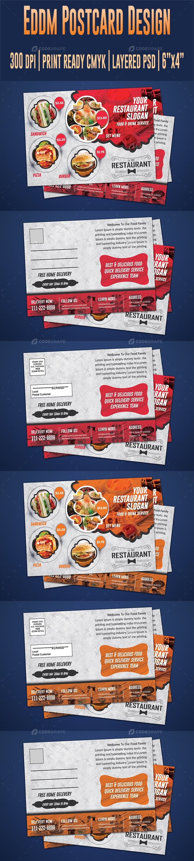 Restaurant Postcard & Direct Mail EDDM Postcard Design Template