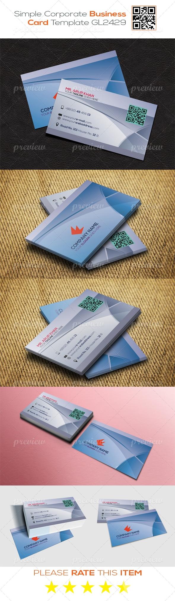 Simple Corporate Business Card Template GL2429
