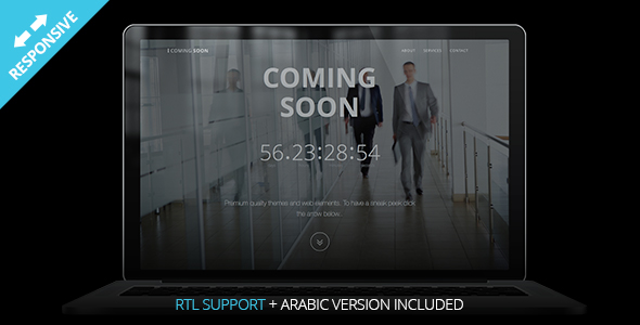 Coming Soon - HTML Responsive Single Page Template - Bi-lingual RTL Support