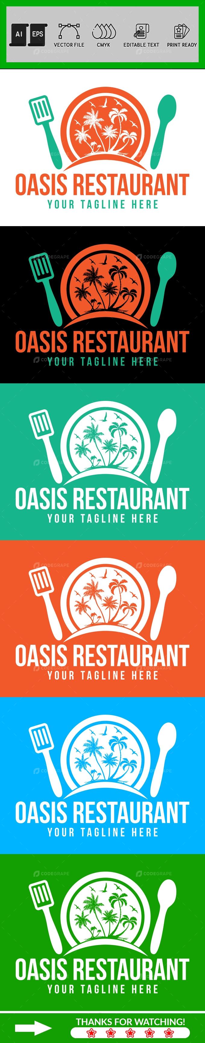 Oasis Restaurant Logo Design Template