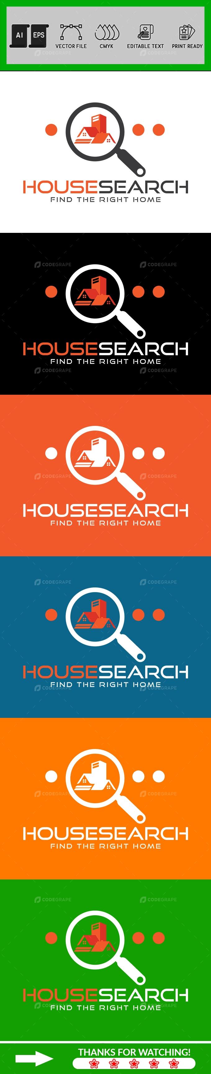 House Search Logo Design Template