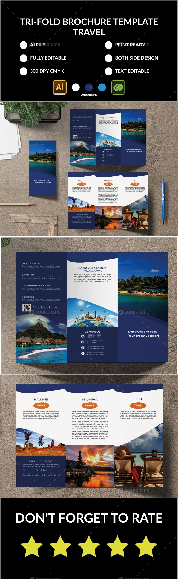 Tri-Fold Brochure Travel