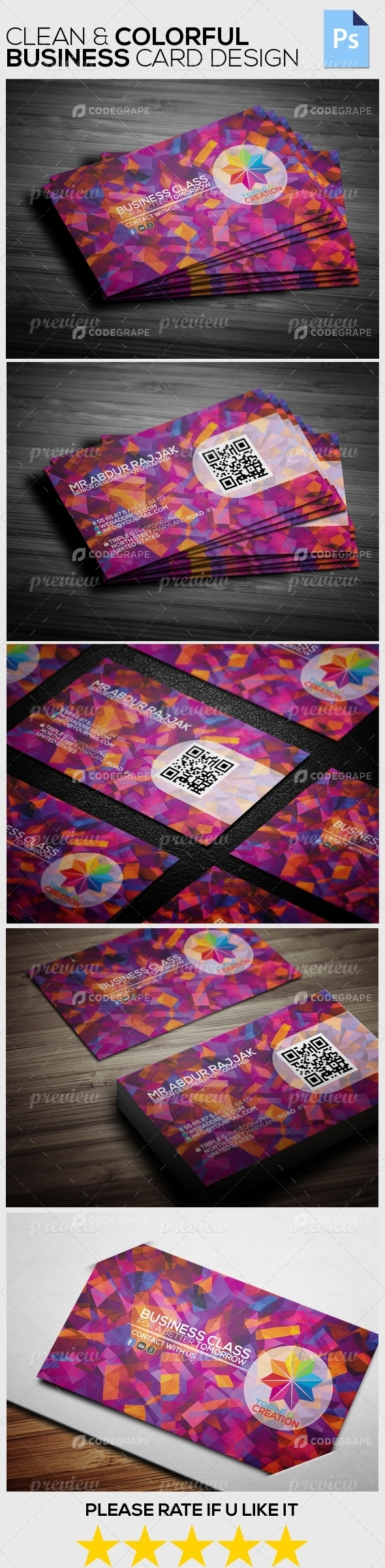 Clean & Colorful Business Card Design